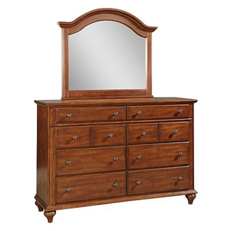 hayden place light cherry drawer dresser with arched dresser mirror 4648 230. Black Bedroom Furniture Sets. Home Design Ideas