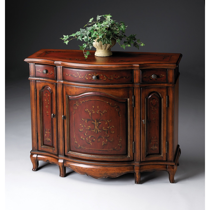 Console Cabinet 1684176 Cherry And Red Paint Butler