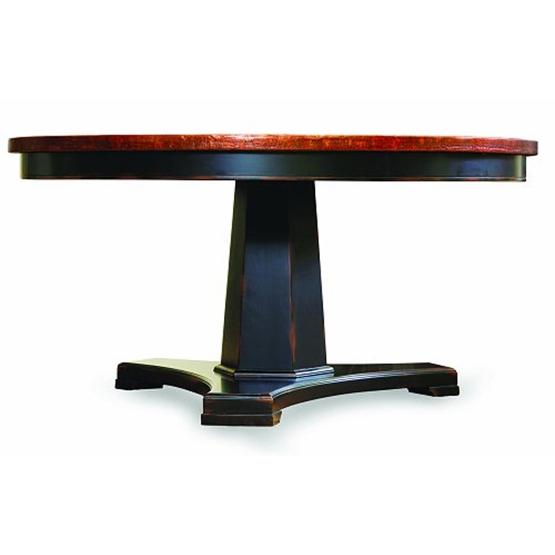 60 Inch Round Pedestal Dining Table Ebony And Copper 3005