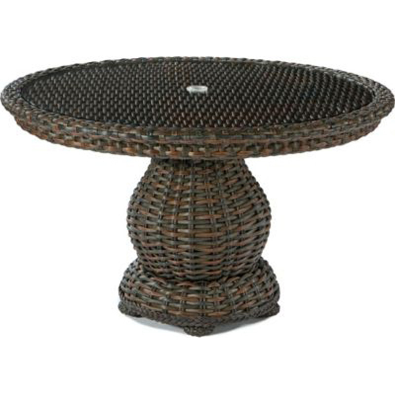 48 Inch Round Dining Table Woven Top With Glass 9790 50 South Hampton