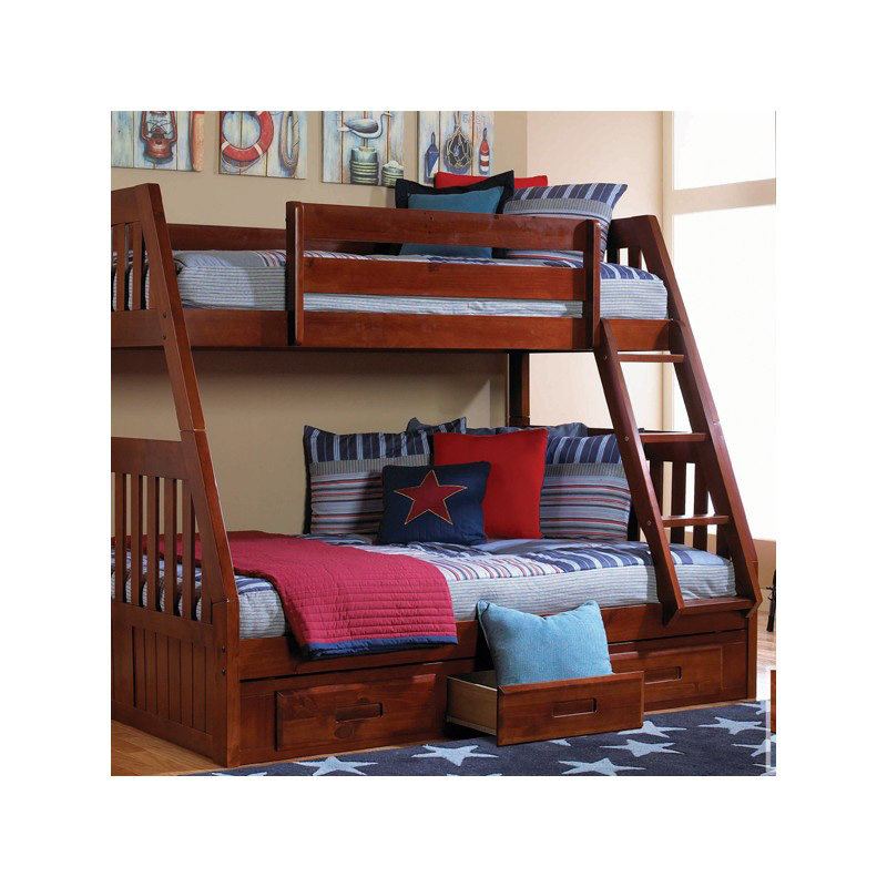 Mission Style Furniture Denver: Mission Twin Full Bunk Bed 414-5751 Merlot NE Kids